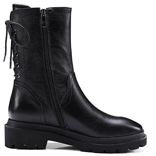 Handmade Comfort Ankle Heel Boots Up Lace Leather Women's Genuine Nine Black Toe Low Seven Black Round 8wcPO0q