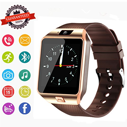 Smartwatch, Bluetooth Watch and Unlocked Watch Cell Phone all in one for Android Smartphones Samsung Sony LG and IOS iPhone–golden by Hocent