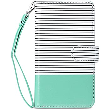 iPhone 6s Case, iPhone 6 Case, 6s Wallet Case, ULAK Wallet iPhone 6S Leather Case Synthetic Folio 9 Card Multi-Slots Flip for Women for Apple iPhone 6s/6 4.7 Inch (Minimal Mint Stripes)