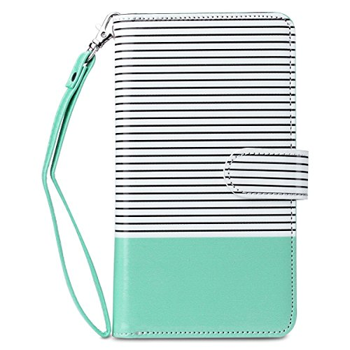 iPhone 6s Case Wallet, iPhone 6 Case, 6s Wallet Case, ULAK Wallet iPhone 6S Leather Case Synthetic Folio 9 Card Multi-Slots Flip for Women for Apple iPhone 6s/6 4.7 Inch (Minimal Mint Stripes)