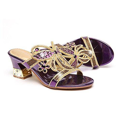 Pantoufles pour Porter des Femmes avec et Sandales épais Neuf Femme Purple en xie Chaussures d'été des des Pantoufles Strass avec en Cuir wvCnBxHnqP