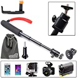 EEEKit Accessory Kit 3in1 for Sony Action Cam Sports Camera, Extendable Handheld Telescopic Self-portrait Selfie Tripod Monopod + Portable Folded Tripod Mount