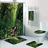Bathroom 5 Piece Set shower curtain 3d print Customized,Nature,Into the Woods Idyllic Forest Greenland Dreamy Mystic Fresh Tropical View,Emerald Hunter Green,Bath Mat,Bathroom Carpet Rug,Non-Slip,Bath