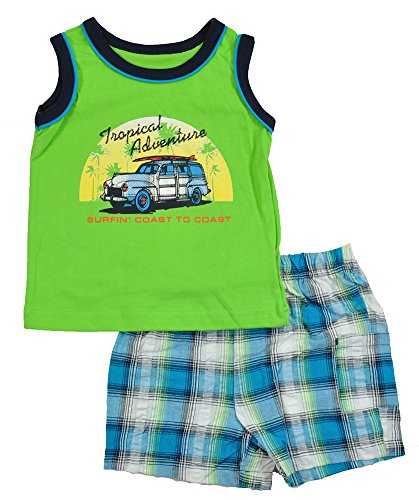 Okie Dokie Infant Boys Green tank Top 2pc Short Set (24M)