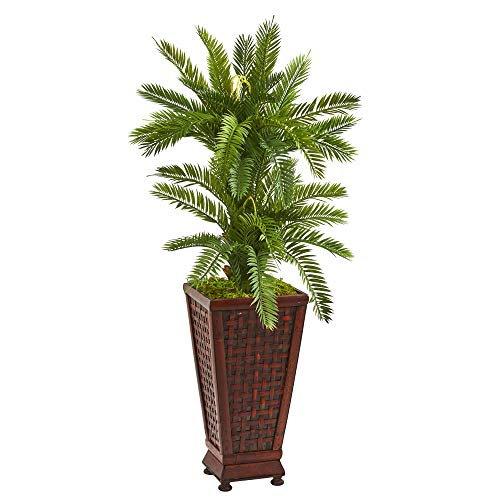 Cycas Plant - Nearly Natural 9203 3.5-Ft. Double Cycas Artificial Decorative Planter Silk Plants Green