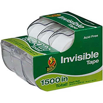 Duck Brand Matte Finish Invisible Tape With Dispenser, 3 Rolls, Each Roll 3/4-Inch x 500 Inches for 1500 Total Inches
