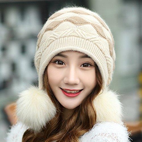 DIDIDD Sombrero-Mujeres Sombreros de invierno y otoño Gorro de punto de moda Sombrero de cachemir para niños,Arroz integral