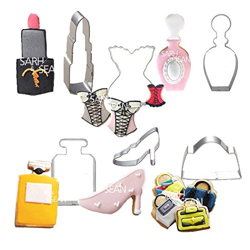 6pcs/set Stainless Steel Lady Fashions of Perfume Lipstick High-heeled Shoes Handbag and Clothing Biscuits Cutters (Easy Halloween Cupcake Decorating Ideas)