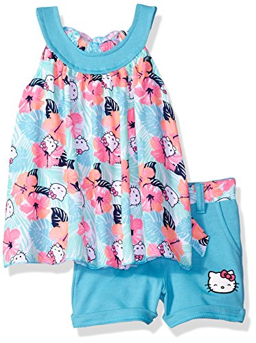 (Hello Kitty Little Girls' Short Set with Embellished Fashion Top, Blue,)