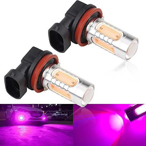 2pcs SUPER Bright Pink H11/H8 LED Bulbs for Fog Lights 7.5W COB Fog Lamp Driving DRL Lights 12V