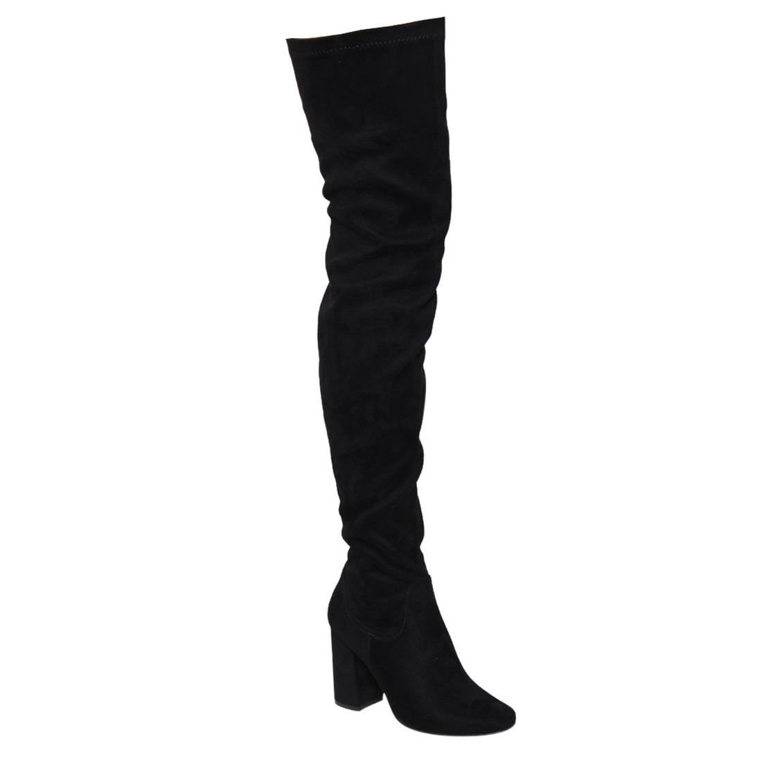 ShoBeautiful Women's Thigh High Boots Stretchy Side Zipper Over The Knee Chunky Block Stiletto Heel Boots Black 9
