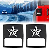 Sunluway Taillights Covers Tail Light Guard Rear Light Protector Cover Trim Matte Black Star Style Accessories for 2018 Jeep Wrangler JL Sport/Sports