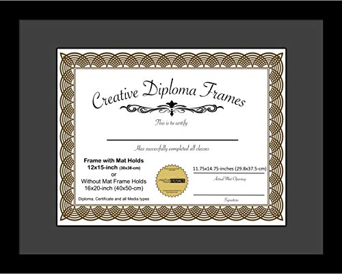 CreativePF [1620bk-b] Satin Black Large Diploma Frame with Black Mat Holds 12x15-inch Documents with Glass and Installed Wall Hanger ()