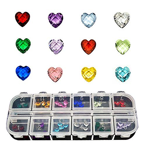 Czorange 60Pcs 5mm Heart Birthstone Crystal Charms Floating Charms for Glass Living Floating Memory Locket (Glass Heart Charms)
