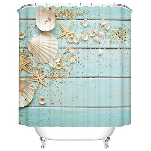 Ormis Seashells Frame on Wooden Background Shower Curtain, Polyester Fabric Waterproof Bath Curtains,72X72 inches ()
