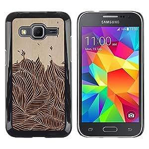 TopCaseStore / la caja del caucho duro de la cubierta de protección de la piel - Vintage Ink Brown Black Foliage - Samsung Galaxy Core Prime SM-G360