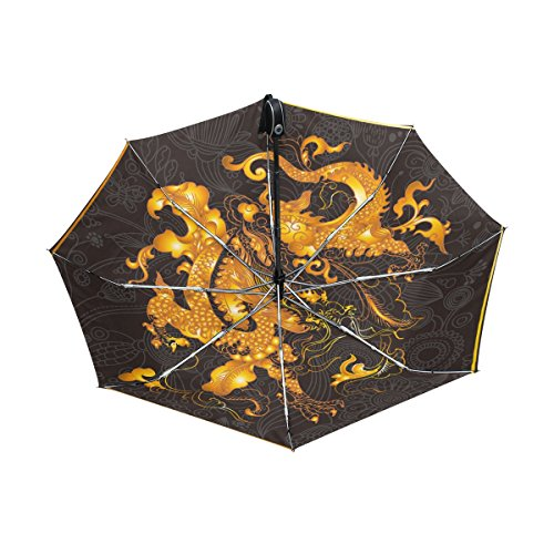 Franzibla Chinese Dragon Print UPF 50+ Anti-UV Parasol Waterproof Windproof Reverse 3 Folds Auto Open Close Lightweight Umbrella (Reverse Hanging Lamp)