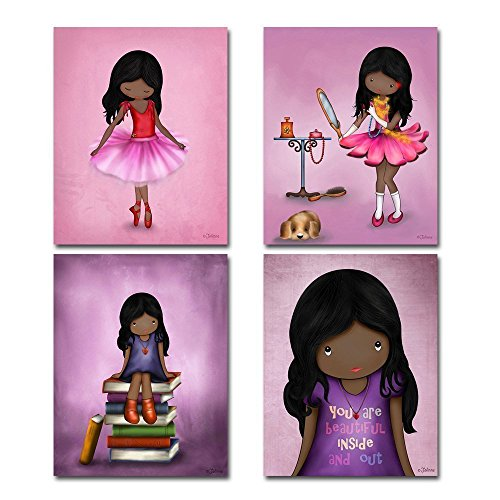 (Set of 4 Art Prints for Girls Room African American Artwork Pink Purple Wall Art Posters for Child's Bedroom or Nursery 8x10 Dark skin Black Hair Girl)