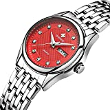 Women Fashion Watch Casual Business Quartz Watch Stainless Steel Waterproof Date and Week Dress Watches (Red)