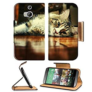 Floor Wood Indoors Cats Animals HTC One M8 Flip Case Stand Magnetic Cover Open Ports Customized Made to Order Support Ready Premium Deluxe Pu Leather 6 4/16 Inch (158mm) X 3 4/16 Inch (82mm) X 9/16 Inch (14mm) MSD HTC1 cover Professional M 8 Cases M_8 Acc