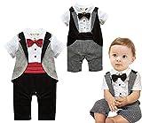 Angelchild Baby Boys Tuxedo Gentleman Onesie Romper Jumpsuit Formal Wedding Suit (Tag 90CM(9-12Months), Red (Short Sleeve))