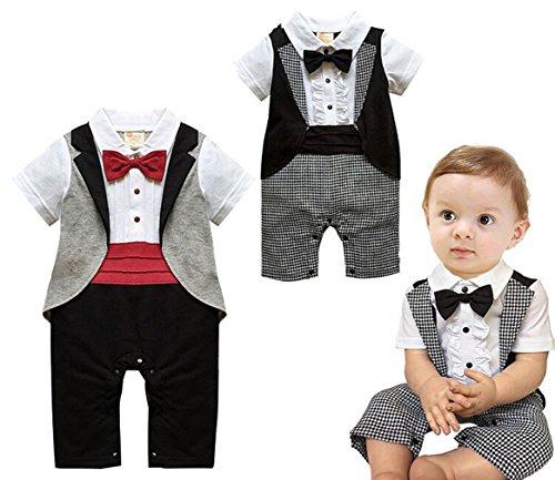 Angelchild Baby Boys Tuxedo Gentleman Onesie Romper Jumpsuit Formal Wedding Suit (Tag 90CM(9-12Months), Red (Short Sleeve)) by Angelchild