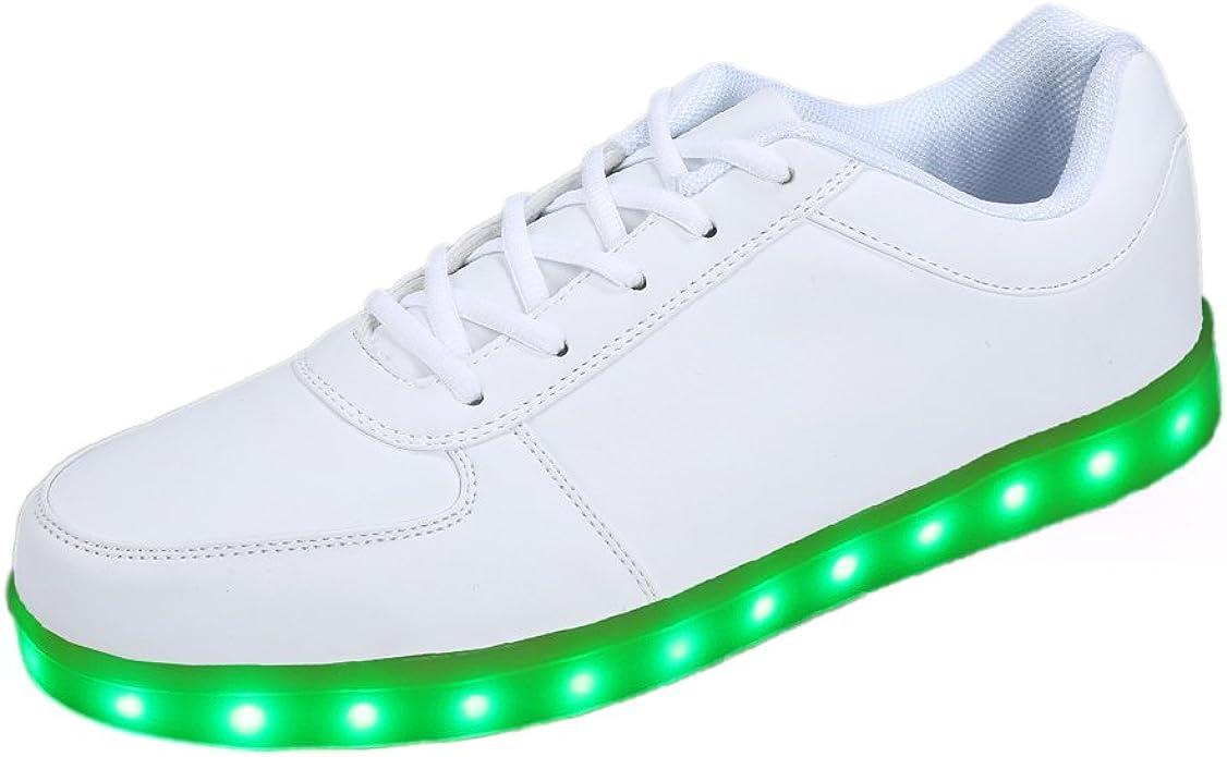 Topteck 7 color unisex USB macho femenino ligero brillante LED indicadores de carga zapatillas de deporte Zapatos de la zapatilla de deportes, Blanco 2, 41EU: Amazon.es: Zapatos y complementos