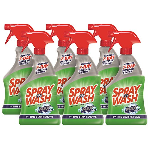 Spray 'n Wash Max Laundry Stain Remover, 132 fl oz (6 Bottles x 22 oz) - Stain Removal Silk