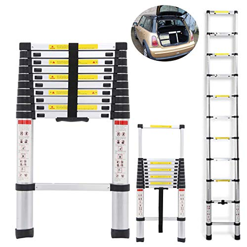 DICN 10.5FT Telescopic Ladders Aluminum Extendable Steps 330LB Capacity Straight Ladder for Decoration Outdoor Indoor Portable Compact Lightweight Easy Storage in Car Transport
