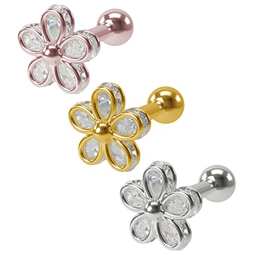 Lobster Pot Adult Costumes (3 x Cubic Zirconia CZ Flower Gem Barbell Studs (16g 1/4 inch 1.2mm) Cartilage Earring for Forward Helix, Tragus, Lobe, Auricle piercing - 316L Hypoallergenic Surgical Steel / Gold / Rose Gold Jewelry)