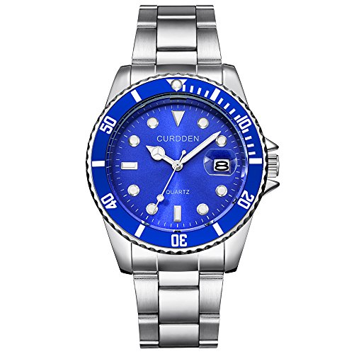 NNCTA CURDDE Men Fashion Military Stainless Steel Date Sport Quartz Analog Wrist Watch (Blue) ()