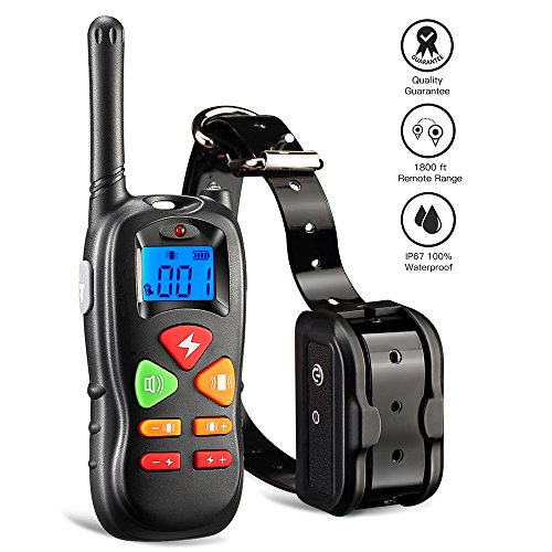 Wiscky Shock Collar for Dogs Dog Training Collar with Remote for Small Medium Large Dogs, [2018 Upgraded Version] 1800ft Waterproof Rechargeable with Beep/Vibration/Electric Shock by Wiscky