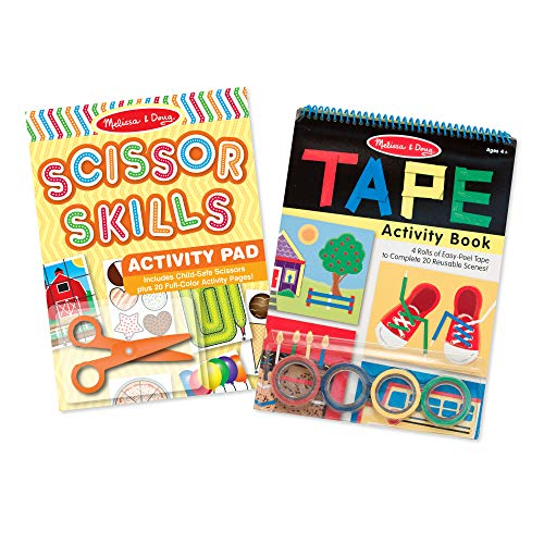 Melissa & Doug Scissor Skills and Tape Activity Pad Set (Child Safety Scissors, 4 Rolls of Tape, 20 Activity Pages Each, Great Gift for Girls and Boys - Best for 4, 5, 6, and 7 Year Olds)