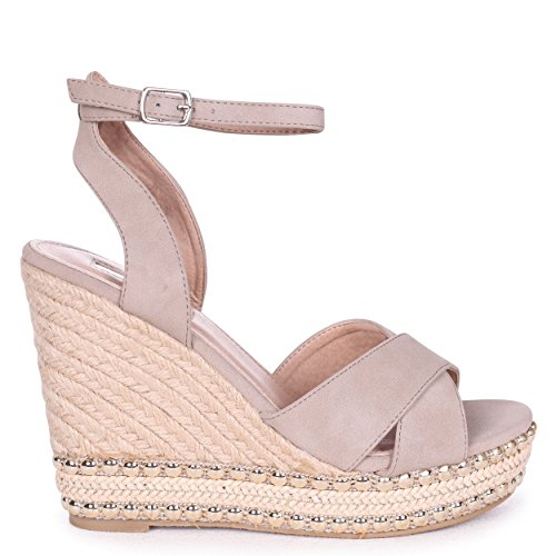 Linzi Miley - Taupe Suede Rope Wedge with Studded & Plait Detail Concrete DUacZUi3Sr
