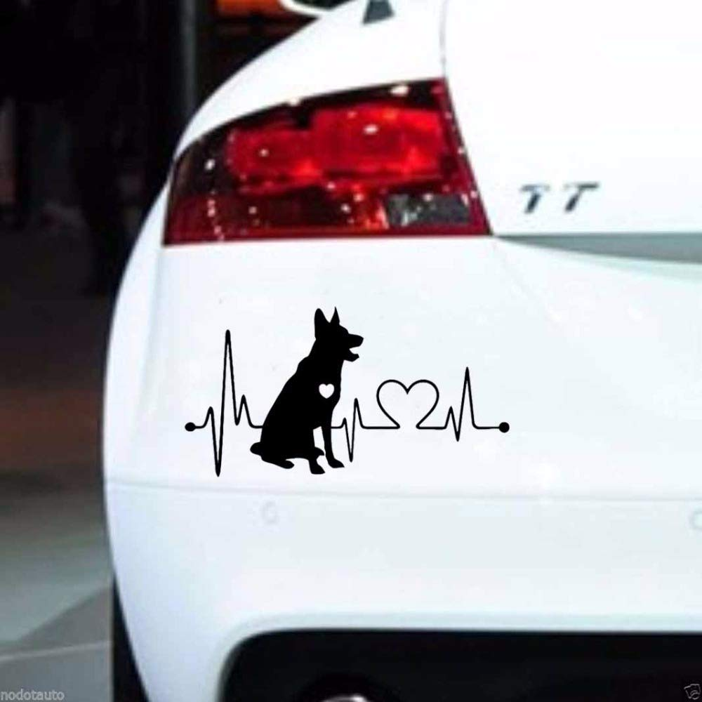 LanLan Decorazione per macchina Moda Pastore tedesco Cartoon Animal Car Sticker Bianco