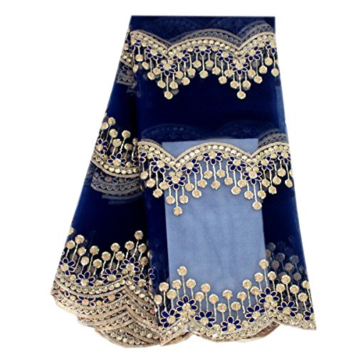 Lacerain African lace Fabric 5 Yards Embroidered lace Fabric Embroidery Material Wedding Dress Shirt Skirt (Blue)