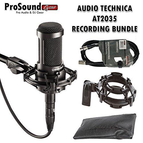 Audio-Technica AT2035 Large Diaphragm Studio Condenser Microphone Bundle with Shock Mount, Mic Bag and XLR Cable (ProSoundGear) Authorized Dealer