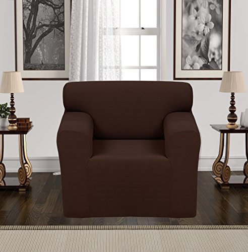 Anti-Slip Jacquard 1-Piece Spandex Stretch Elastic Pet Dog Sofa Couch Cover Slipcover Non-Slip Arm-chair Love-Seat Furniture Protector Shield 1 2 3 Seater T Cushion L Shaped (Chair - Brown) Brown Microfiber Club Chair