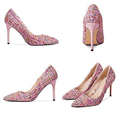 JIANXIN Damen Frühling Und Sommer Sexy Sexy Sexy Stiletto Heels OL Pumps Und Stiletto Heels. (Farbe   Rosa größe   EU 39 US 8 UK 6 JP 25cm) 08cf78
