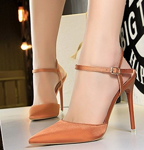 Stilettos Sandals Womens Pointed Heel Carolbar Caramel Evening Toe High Buckle Party ZYH4wq4zd