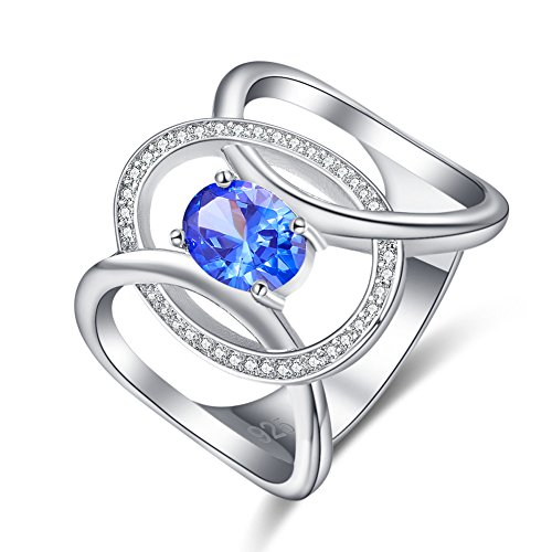 Psiroy 925 Sterling Silver Created Tanzanite Filled Knuckle Ring for Women (Art Deco Silver Ring)