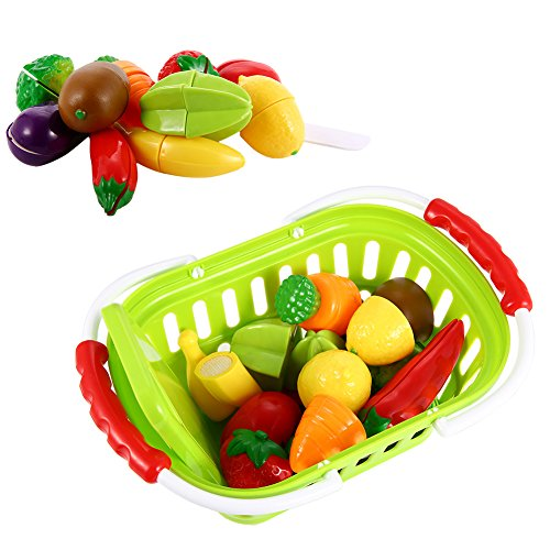 Cutting Food Set (Sakiyr Play Food Set for Pretend Play,  13-Piece Plastic Cutting Fruits and Vegetables Set with Basket, Cutting Food Set for Pretend)