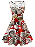 Women's Plus Size Christmas Cat Lace Printed Dress Round Neck Sleeveless A Line Party Costume Cocktail Dresses