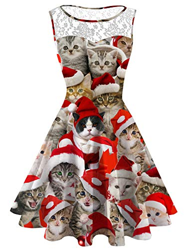 Women's Ugly Christmas Dress Plus Size Christmas Cat Lace Printed Dress Sleeveless Cute Xmas Party Cocktail -