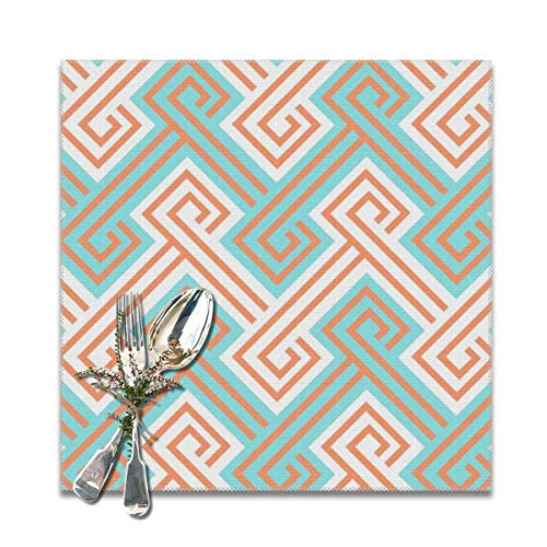 Athena Serving Tray - Athena Greek Key in Turquoise and Tangerine Table Placemats for Dining Table, Wipeable Placemats Washable Table mats Heat-Resistant Set of 6