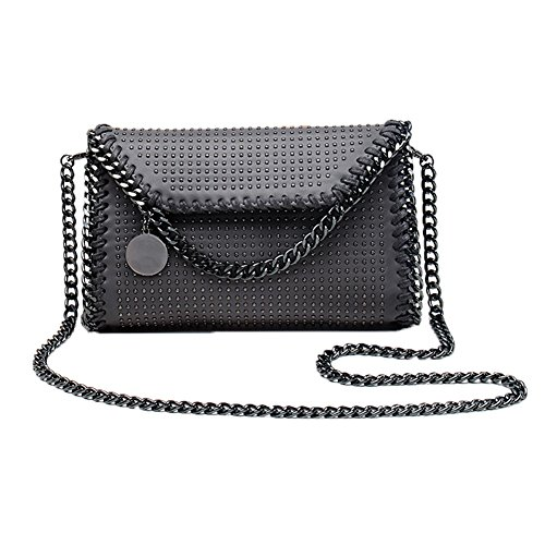 Chain Gray2 Bag Pu Bags Cross Handbag Elegant Metallic Leather Strap Clutches Valleycomfy Women Shoulder body Bag qxpwgFHS