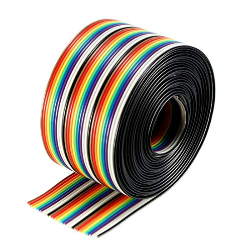 uxcell Flat Ribbon Cable 30P Rainbow IDC Wire 1.27mm Pitch 300cm Long