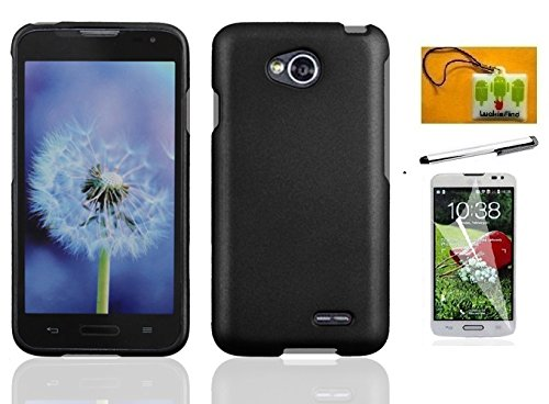 LF 4 in 1 Bundle - Hard Case Cover, Stylus Pen, Screen Protector & Wiper for (Straight Talk, Net10, Tracfone) LG Ultimate 2, LG L41C (Hard Black)