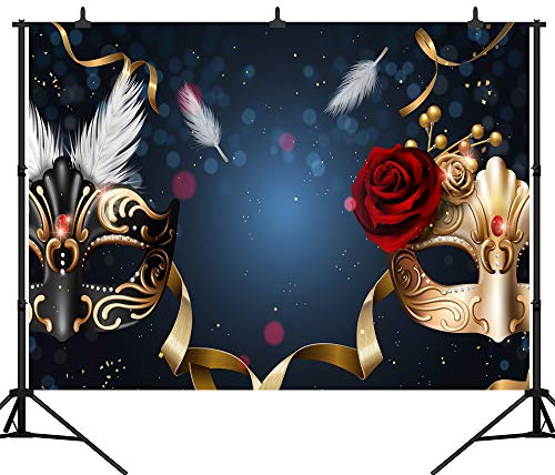 Masquerade Backdrop Ideas (DePhoto 7X5FT(210X150CM) Carnival Mardi Gras Colorful Mask Poster Masquerade Seamless Vinyl Photography Backdrop Photo Background Studio Prop)