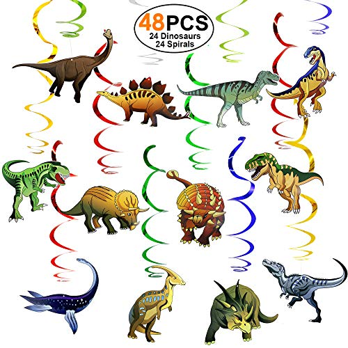 Dinosaur-Party-Supplies-Birthday-Decorations 48 PCS Hanging Swirl (24 Dinosaurs 24 Spirals) Ceiling Decor Swirls for Kids Boys Girls -